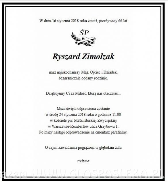 Zmarł Ryszard Zimolzak