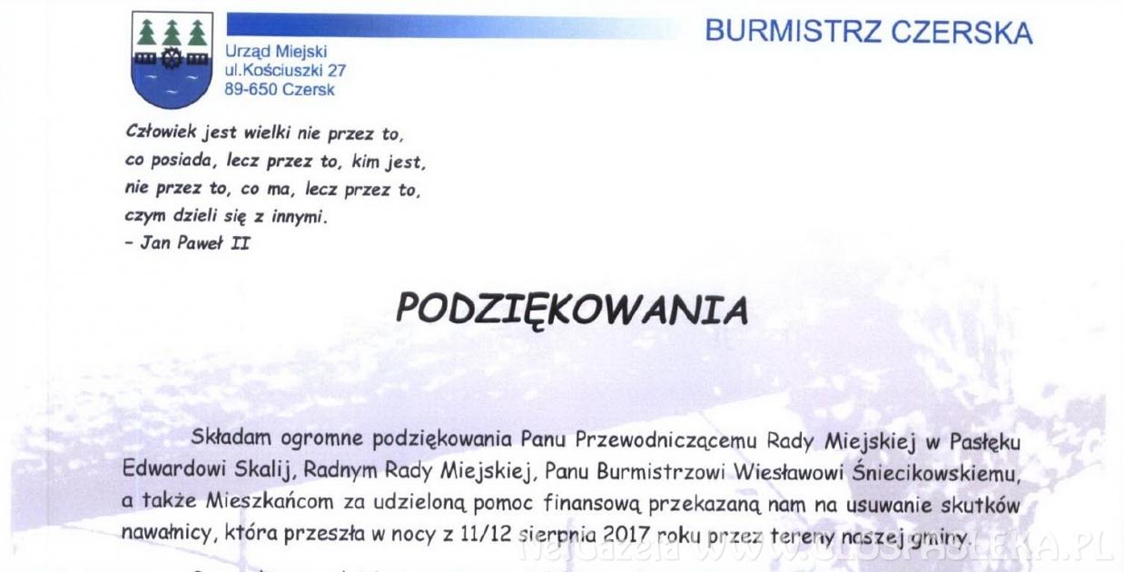 Burmistrz Czerska dziękuje