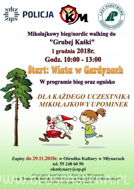 Bieg Mikołajkowy i marsz nordic walking do Grubej Kaśki