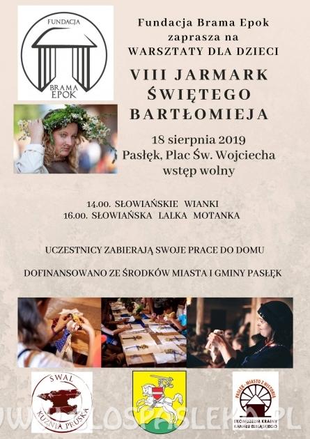 VIII Jarmark św. Bartłomieja w Pasłęku już w niedzielę. Co w programie?