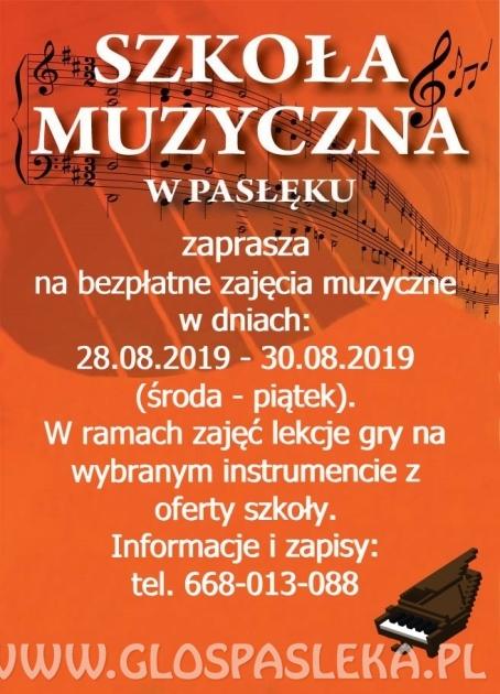 Szkoła Muzyczna w Pasłęku zaprasza na bezpłatne warsztaty