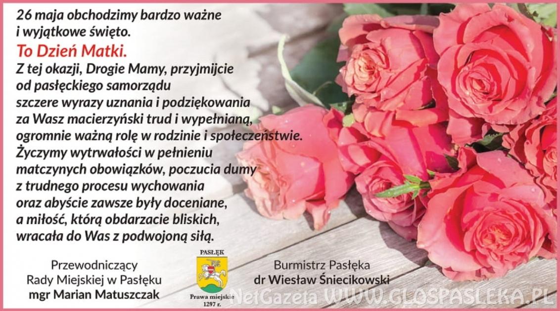 Życzenia Burmistrza Pasłęka zokazji Dnia Matki