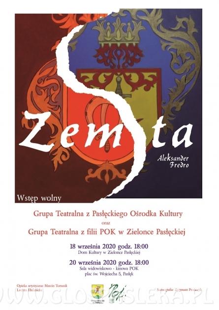 Zemsta w wykonaniu grup teatralnych POK i Zielonki Pasłęckiej