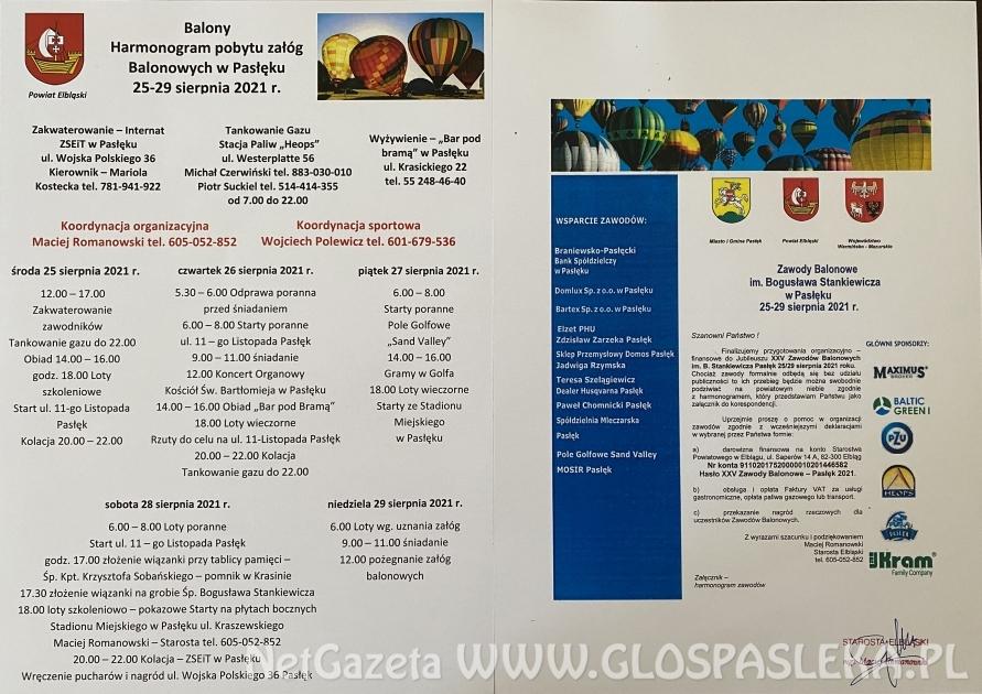 Zawody balonowe – szczegółowy program